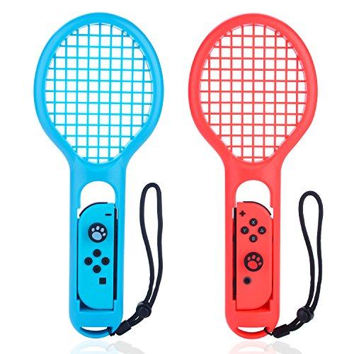 (닌텐도 스위치 포켓몬스터) Nintendo Switch  Joy-Con전용 라켓형 어태치먼트 마리오 테니스 라켓 경량 내구성 테니스 게임의 현장감 핸드 스트랩부 Joy-Con핸들 그립 2종 세트 bedee