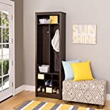 Space-Saving Entryway Organizer with Shoe Storage - Espresso, 2 Double Coat Hooks, Composite Wood Laminate, Rich Espresso Finish, an Open Shelf is Ideal For Hand Warmers and Scarves