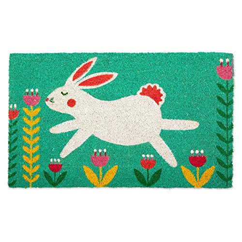 DII CAMZ11257 Indoor/Outdoor Natural Coir Easy Clean PVC Non Slip Backing Entry Way Doormat for Patio, Front, Weather Exterior Doors, 18x30, Bunny Folk -