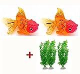 Product review for MAXGOODS 5PC/Set Aquarium Artificial Fish Floating Decorations,2 Silicone Floating Goldfish+ 3 Aquarium Plastic Plants