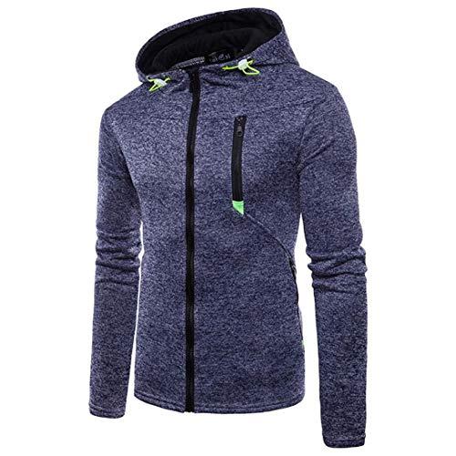 Sweatshirt for Mens,Realdo Men's Solid Crewneck Elastic Drawstring Zipper Front Hoodie Casual Fashion Top Tee(XXX-Large,Navy)
