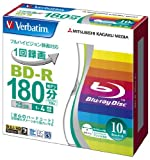Verbatim BluRay 25GB 4x Speed BD-R Blu-ray Recordable Disk 10 Pack in Jewel Cases  Ink-jet Printable