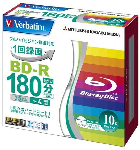 Verbatim BluRay 25GB 4x Speed BD-R Blu-ray Recordable Disk 10 Pack in Jewel Cases  Ink-jet Printable by Verbatim