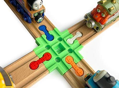TrainLab Cross TrackDog Bones for Wooden Railway Trains Fits Thomas Brio  & Doug Imaginarium (Green)