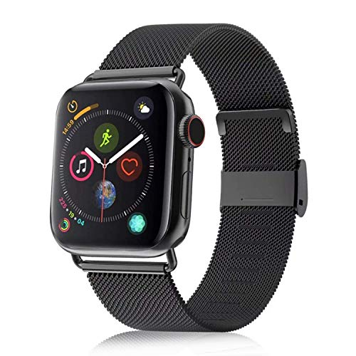 VATI Compatible with Apple Watch Band 38mm 40mm, Stainless Steel Mesh Loop Sport Wristband with Adjustable Magnetic Closure Replacement Band Compatible with iWatch Series 4/3/ 2/1, Black