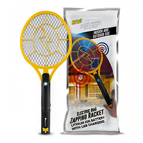 Rechargeable Bug Zapper - Beastron Bug Zapper Racket, Electric Fly Killer with USB Rechargeable, Bright Led Light and Unique 3-Layer Safety Mesh Safe to Touch for Indoor and Outdoor Pest Control