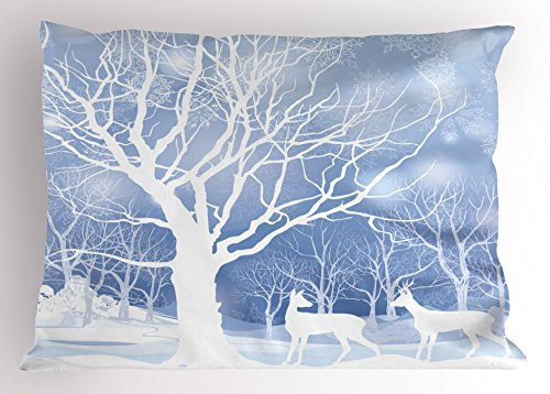 (Lunarable Winter Pillow Sham, Silhouettes of Deer in Snowy Forest with Blizzards Surreal Dreamy Fantasy Theme, Decorative Standard Size Printed Pillowcase, 26 X 20 Inches, Blue White)
