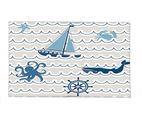 Interestlee Fleece Throw Blanket Nautical Decor Wave Pattern With Nautical Elements Icons Octopus Crab Starfish And Whale Artwork Beige Blue (Starfish Costume Sewing Pattern)