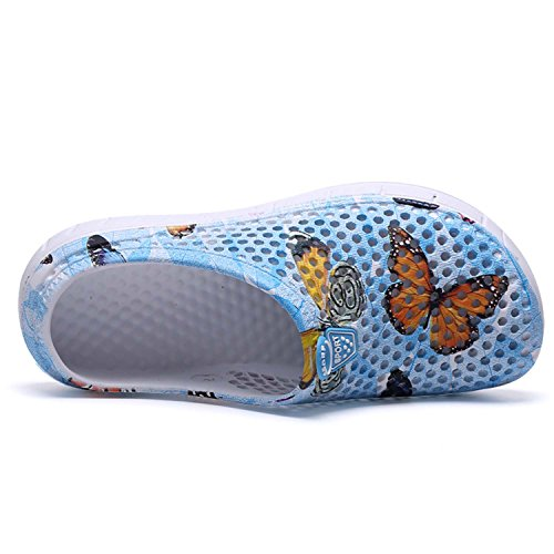 Water Shoes butterfly Sandals HMAIBO Breathable Clogs Blue Garden Footwear Slippers Mule Women's Men's qw8Ap6