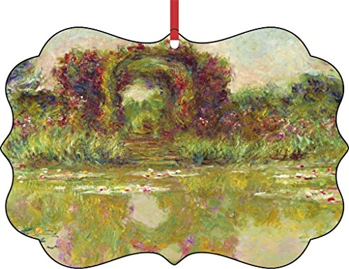 (Claude Monet's Flowering Arches at Giverny-TM Double-Sided Benelux Aluminum Holiday Hanging Tree Ornament. Made in the USA!)