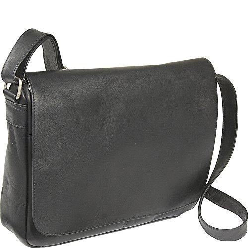 Le Donne Leather Flap Over Shoulder Bag (Black)