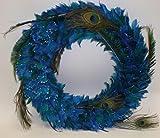 "16"" Extravagant Blue Peacock Feather Glitter Christmas Wreath #11005"