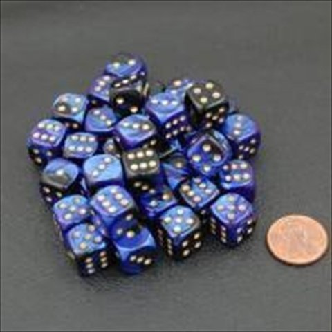 Chessex Manufacturing 26835 D6 Cube Gemini Set Of 36 Dice, 12 mm - Black & Blue With Gold Numbering by Chessex Manufacturing