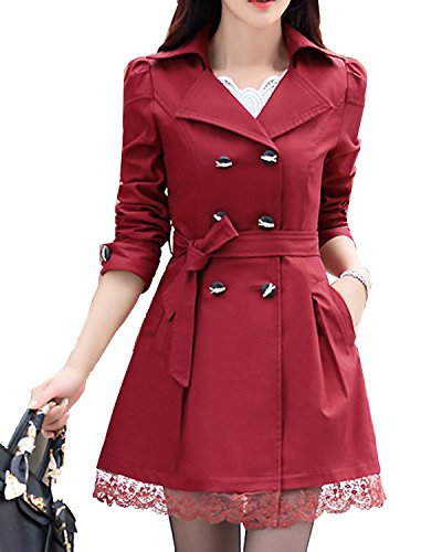 S&S Women Fashion Double-Breasted Belt Bowknot Skirted Hem Trench Coat