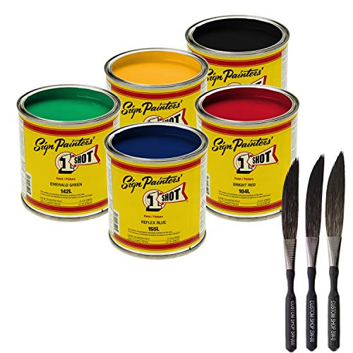 One Shot Lettering Enamel - One-Shot 5-Color Lettering and Pinstripe Paint 1/4 Pint Cans with Bonus Striping Brush Kit Colors: Bright Red, Lemon Yellow, Emerald Green, Reflex Blue and Black