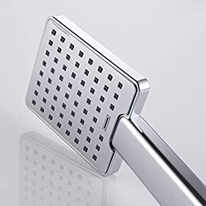 KES LP130A Bathroom Lavatory Single Function Handheld Shower Head with Hose and Bracket Modern Square, Polished Chrome