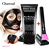 Blackhead Charcoal Peel Off Mask SHILLS Black Mask, Peel Off Mask, Blackhead Remover Mask, Charcoal Mask, Blackhead Peel Off Mask and Brush Kit