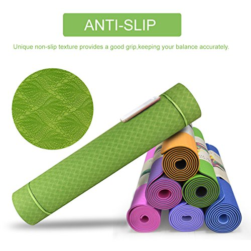 GF Yoga Mat 1 4 Extra Thick Exercise Mat with Carrying Strap – Non Slip Workout Mat for Yoga, Pilates, Stretching, Meditation, Floor Fitness Exercises