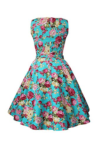 Flores Años 'Audrey' Vintage Turquesa Rosas Vestido 50 BlackButterfly Divinity fwt10dqt