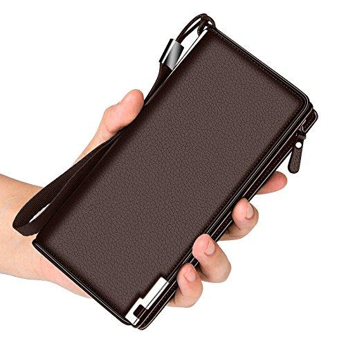 Hombres cremallera bolso de mano bolso bolso business casual jóvenes de gran capacidad, negro, 22cm*18cm marrón