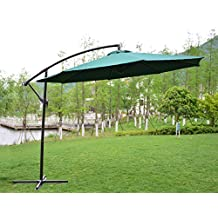 PatioPost 10-Feet Offset Hanging Patio Umbrella with UV Resistant Protect Cover, Dark Green