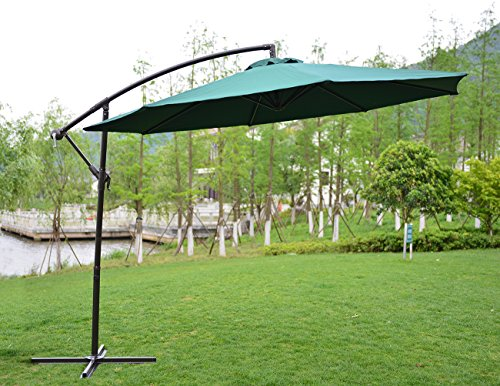 Price comparison product image PatioPost 10-Feet Offset Hanging Patio Umbrella with UV Resistant Protect Cover,  Dark Green
