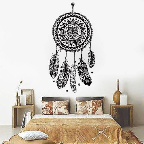 Dream Catcher Decal Feather Sticker Boho Dreamcatcher Wall Decals for Bedroom Nursery USA Product Bohemian Bedding Hippie Decor Ah99