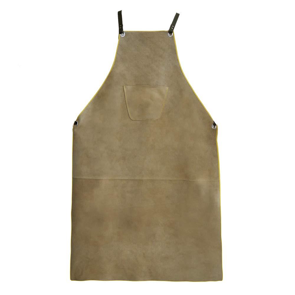 OLSON DEEPAK Leather Welding Work Apron - Heat Resistant & Flame Resistant Bib Apron, Flame Retardant Heavy Duty BBQ Apron, Adjustable One Size Fit Most - 31'' X 45'',Brown