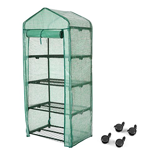 Finether 4-Tier Greenhouse with Clear Cover and Casters |Portable Garden House/Gargen House for Indoor Outdoor Herb Flower Garden Balcony,27''x19''x62'' by Finether