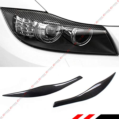 Cuztom Tuning Fits for 2006-2011 BMW E90 E91 3 Series M3 Carbon Fiber Headlight Eyelid Eye Lid Eyebrow Cover