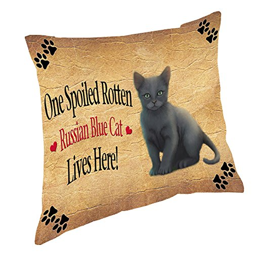 Russian Blue Spoiled Rotten Cat Throw Pillow (18x18) (Cat Spoiled)