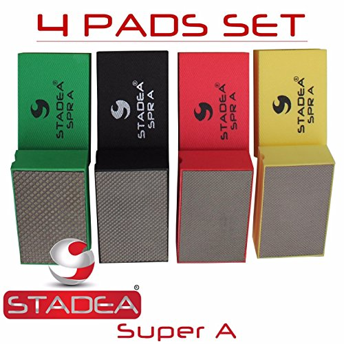 Stadea HPW107K Diamond Hand Polishing Pads - Glass Marble Concrete Stone Hand Polishing, 4 Pads Set Concrete Diamond Polishing Pad