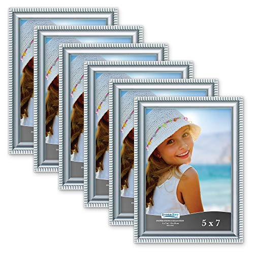Icona Bay 5x7 Picture Frames (6 Pack, Silver) Picture Frame Set, Wall Mount or Table Top, Set of 6 Inspirations Collection -