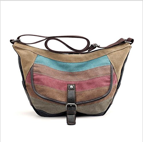 Handbag Package Waterproof LXYIUN Splicing Diagonal Canvas Bag Shoulder Women's q1HHxa8t