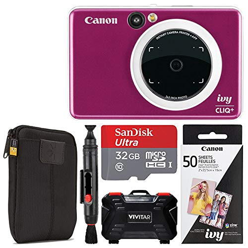 Canon Ivy CLIQ + Instant Camera Printer (Ruby Red) + Canon 2 x 3 Zink Photo Paper Pack (50 Sheets) + SanDisk Ultra 32GB microSDHC Memory Card + Portable Case + Vivitar Memory Card Case (24 Slots)
