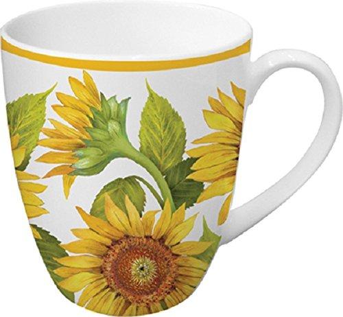 Paperproducts Design Porcelain Mug with Distinctive Tournesols Design, 14 oz, Multicolor