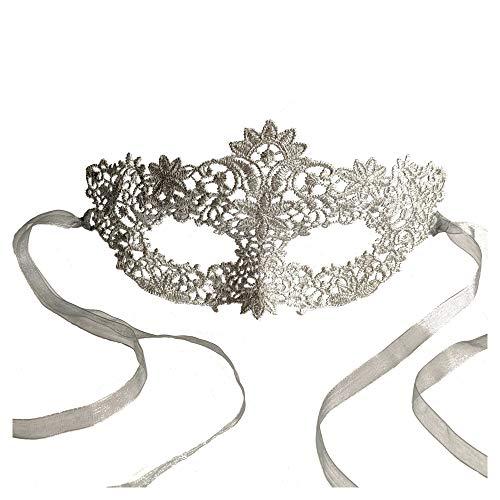 Samantha Peach Stunning Silver Lace Coachella Masquerade Mask Prom