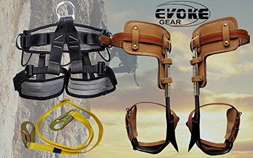 Evoke Gear Tree Climbing Spike Set Pole Spurs Climber Adjustable with Pro Harness (Palm Climbing Spikes)