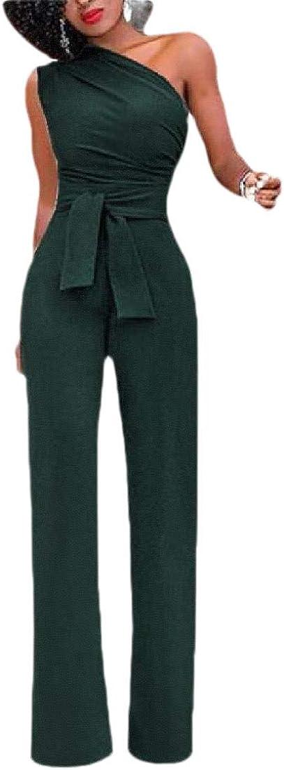 RRINSINS Womens One Shoulder High Waisted Wide Leg Romper Jumpsuits with Belt