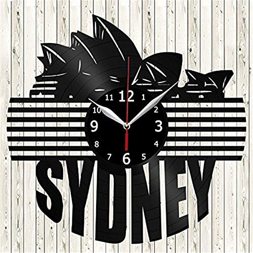 Sydney City View Vinyl Record Wall Clock Modern Home Decor Wall Art Kitchen Bedroom Living Room Decorations Christmas Halloween Personalized Gifts