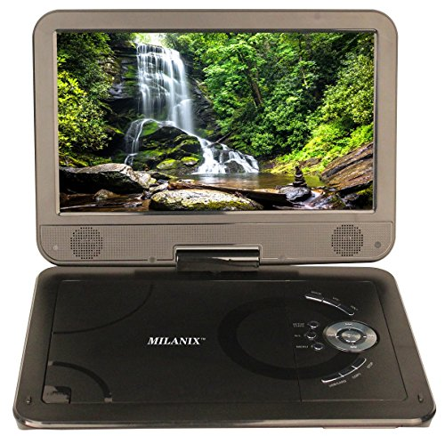 Milanix 10.1'' HD Portable DVD Player, CD Player, Swivel Angle Adjustable Display Screen, USB/SD Card Memory Readers, and Built-in Rechargeable Battery with Remote Control, And Subtitles (Optional) by Milanix