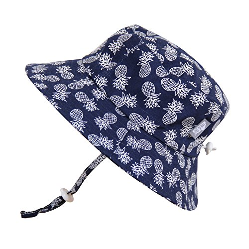 baby-sun-hat-with-chin-strap-adjustable-head-size-50-upf-cotton-bucket-s-0-6m-navy-pineapple-