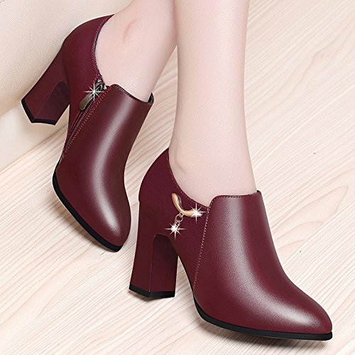 With Leather Shoes Coarse Coarse KPHY Heel Female Thirty Deep Leather eight Professional Fashion a1RZBT