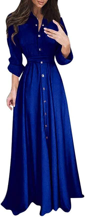 Vestido de Mujer Manga Larga de Solapa de Dama Casual Cóctel de ...