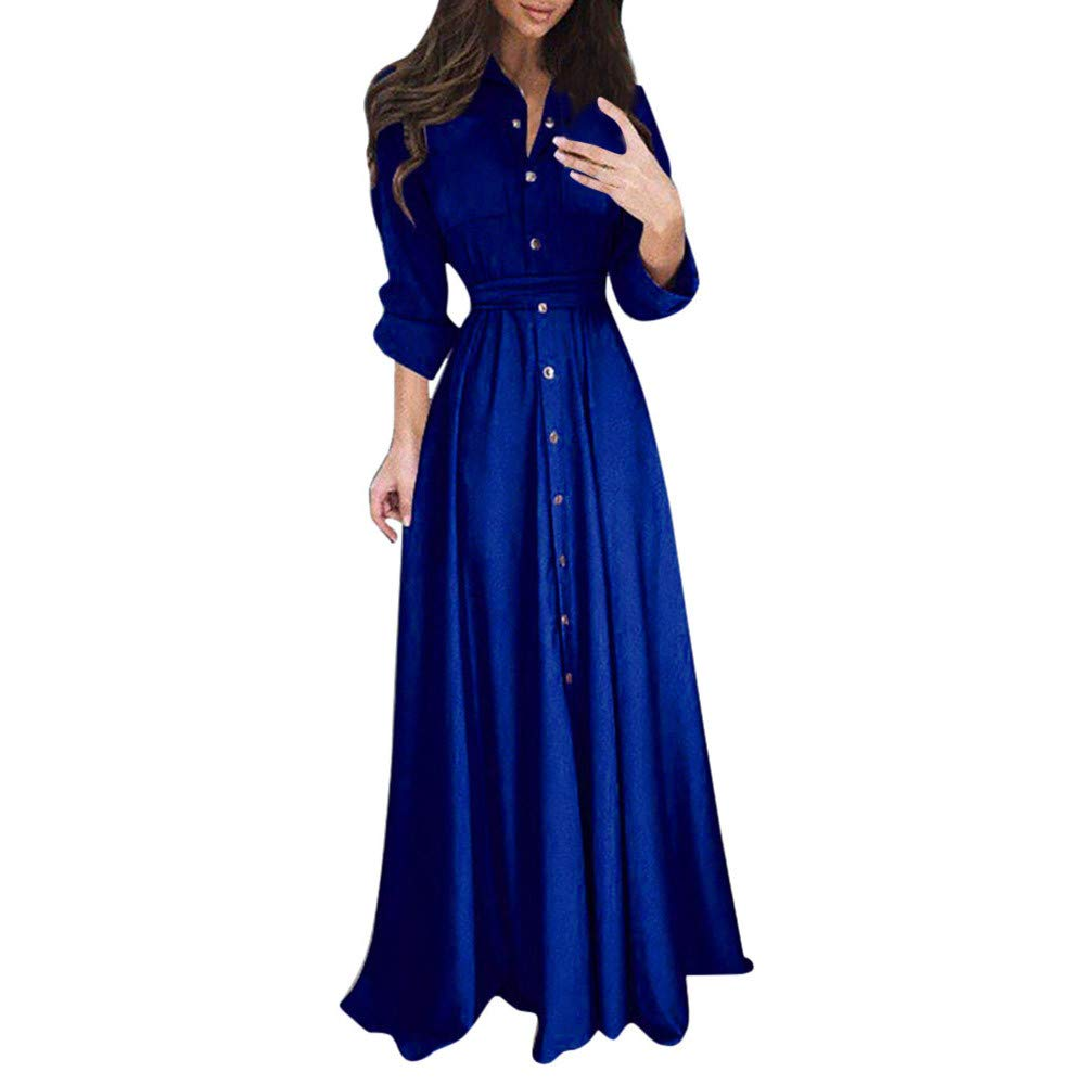 GIFC Womens Casual Fashion Long Sleeve Lapel Maxi Long Dress Solid Lady Shirt Dress With Sashes