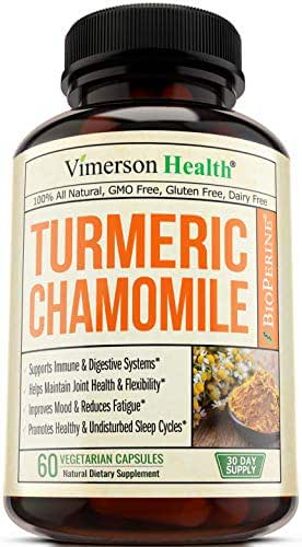 Turmeric Chamomile Sleep Aid Supplement with Ginger, Cinnamon and Bioperine. Promotes Healthy Sleep Cycle, Digestive Health and Gut Flora, Natural Mood Boost for Occasional Stress and Anxiety Relief