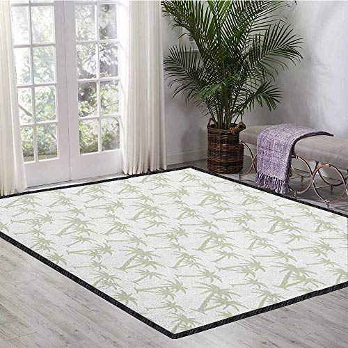 Palm Tree Border Rug - Tropical Non-Slip Area Rug Pad,Tropical Coconut Palm Trees Pattern Print Exotic Hawaiian Wild Lands Holiday Theme for Living Room Nursery Grey White 55
