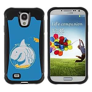 ZAKO Cases / Samsung Galaxy S4 I9500 / Funny Aquarium Shark Goldfish / Robusto Prueba de choques Caso Billetera cubierta Shell Armor Funda Case Cover Slim Armor