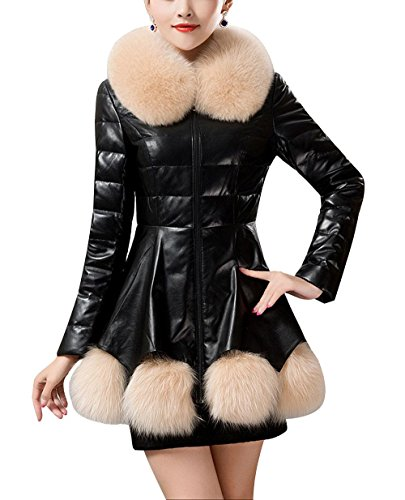 Waterproof Slim Coat And Leather 4XL Shirt Fur Jacket Winter Down Artificial PU Long BLACK Section Warm Jacket Women'S Jacket Windproof Autumn BZwYt
