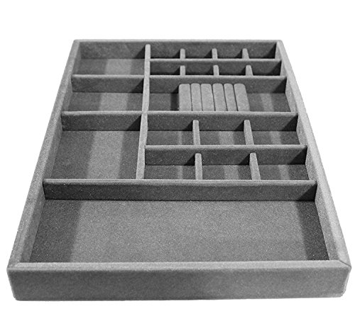 "Jewelry Drawer Organizer, Wood and Velvet Tray for Jewels, Rings, Necklaces, Bracelets, 20 Compartments, Protects Jewelry, , Stackable, Durable and Made In USA , (Gray/Silver) 21.5"" x 14.5""x 2"""